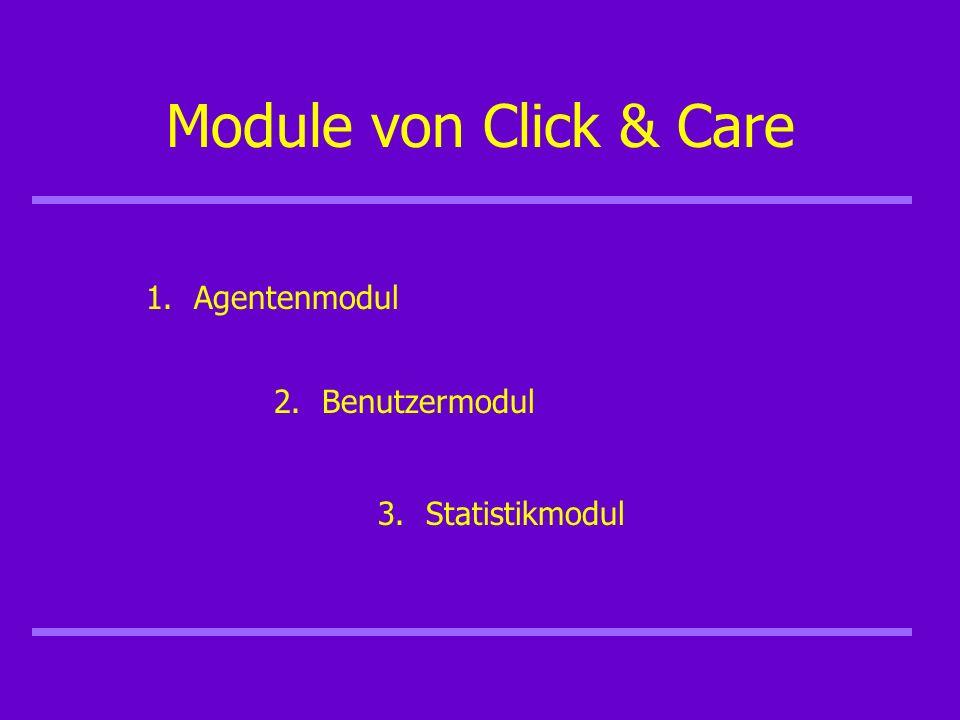 Module von Click & Care 1.Agentenmodul 2.Benutzermodul 3.Statistikmodul