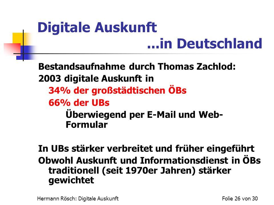 Hermann Rösch: Digitale AuskunftFolie 26 von 30 Digitale Auskunft...in Deutschland Bestandsaufnahme durch Thomas Zachlod: 2003 digitale Auskunft in 34