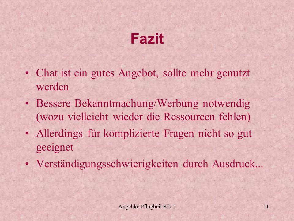 Angelika Pflugbeil Bib 711 Fazit Chat ist ein gutes Angebot, sollte mehr genutzt werden Bessere Bekanntmachung/Werbung notwendig (wozu vielleicht wied