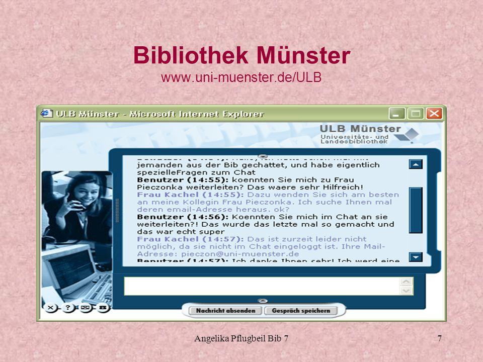 Angelika Pflugbeil Bib 78 Bibliothek Hamburg Harburg www.tub.tu-harburg.de Chat seit 2003 Direkter Link auf Homepage Programm RAKIM Für Chat muss man sich einloggen Durchschnittlich 11 Fragen in der Woche