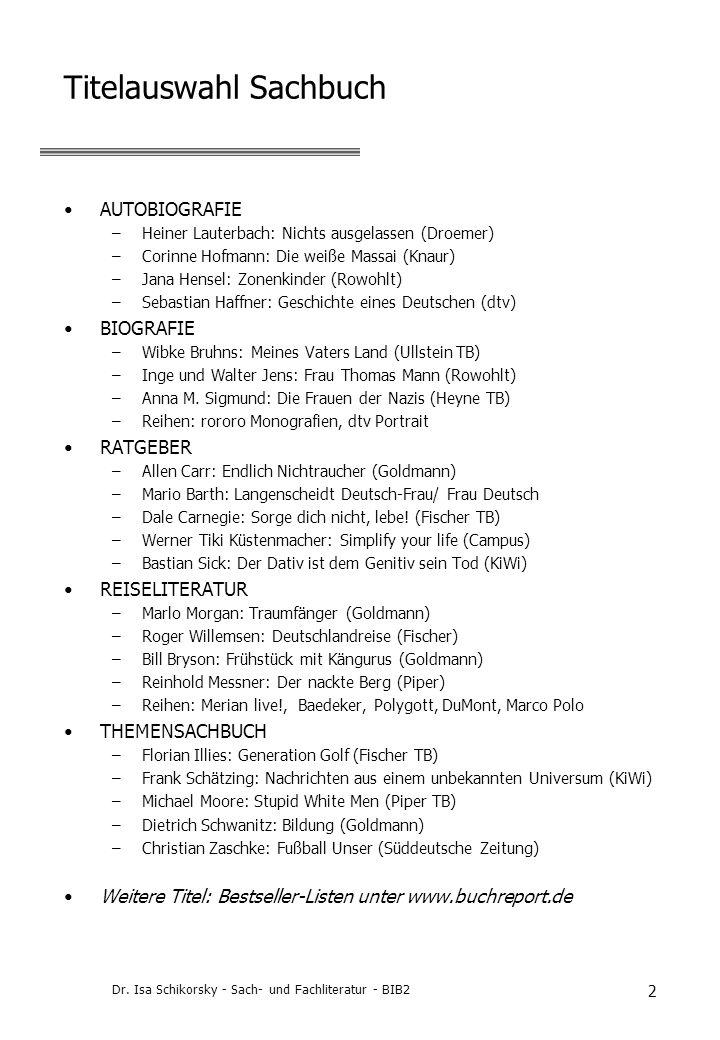 Dr. Isa Schikorsky - Sach- und Fachliteratur - BIB2 2 Titelauswahl Sachbuch AUTOBIOGRAFIE –Heiner Lauterbach: Nichts ausgelassen (Droemer) –Corinne Ho