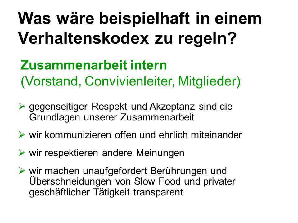 Was wäre beispielhaft in einem Verhaltenskodex zu regeln? Zusammenarbeit intern (Vorstand, Convivienleiter, Mitglieder) gegenseitiger Respekt und Akze