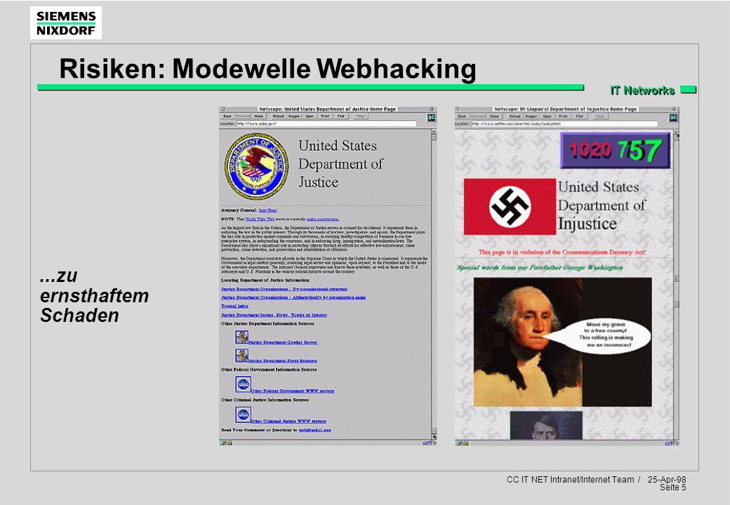 IT Networks CC IT NET Intranet/Internet Team / 25-Apr-98 Seite 5...zu ernsthaftem Schaden Risiken: Modewelle Webhacking