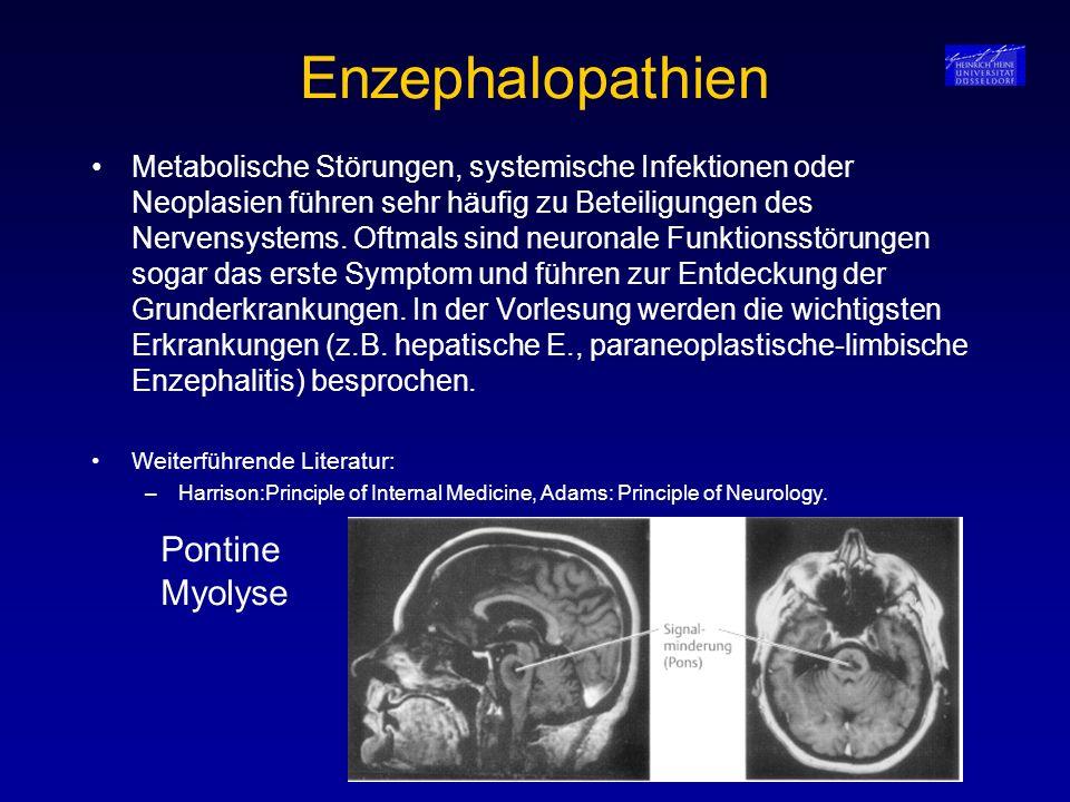 Enzephalopathien Metabolische Störungen, systemische Infektionen oder Neoplasien führen sehr häufig zu Beteiligungen des Nervensystems. Oftmals sind n