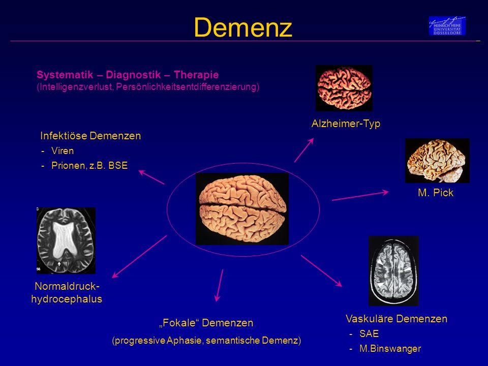 Systematik – Diagnostik – Therapie (Intelligenzverlust, Persönlichkeitsentdifferenzierung) Demenz Alzheimer-Typ Normaldruck- hydrocephalus M. Pick Vas