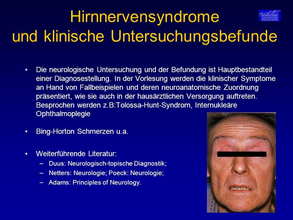 Extrapyramidale Bewegungsstörungen SyndromLeitsymptomeDiagnostikTherapie Dystonien Blepharospasmus klinisch Botulinumtoxin-Injektionen Oromandibuläre Dystonie in die betroffene Muskulatur Meige-Syndrom Fokale zervikale Dystonie Extremitätenmdystonie Dopa-responsive Dystonie Beginn im KindesalterKlinisch, Ausschluß L-Dopa in niedriger Dosierung Segawa-Syndrom einer symptomatischen Dystonie Generalisierte Dystonie Beginn im KindesalterKlinisch, Ausschluß Verschiedene Medikamente mit Progredienzeiner symptomatischen Krankengymnastik Erkrankung Baclofenpumpe, Tiefenhirnstimulation Restless-Leg-Syndrom Starker nächtlicher Be- Ausschluß einer spinalen L-Dopa in niedriger Dosierung wegungsdrang der BeineRaumforderung oder einer Polyneuropathie Myoklonien Seltene Erkrankungen, Klinisch, Ausschluß Antiepileptika, Tranquilizer, BoNT-A, zahlreiche Spezialfälleanderer Ursachen Tiefenhirnstimulation Kleinhirnerkrankungen Ataxie, Tremor, Dysarthrie, Klinisch, genetische Zahlreiche, genetischTestung, MRT unterscheidbare Formen Symptomatische Klinisch, Labordiagnostik Behandlung der zerebelläre Erkrankungen MRT, LP, PET zu Grunde liegenden Nutritiv toxisch Erkrankung Paraneoplastisch