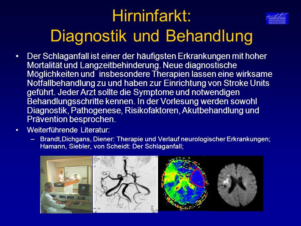 Hirninfarkt: Diagnostik und Behandlung Der Schlaganfall ist einer der häufigsten Erkrankungen mit hoher Mortalität und Langzeitbehinderung. Neue diagn