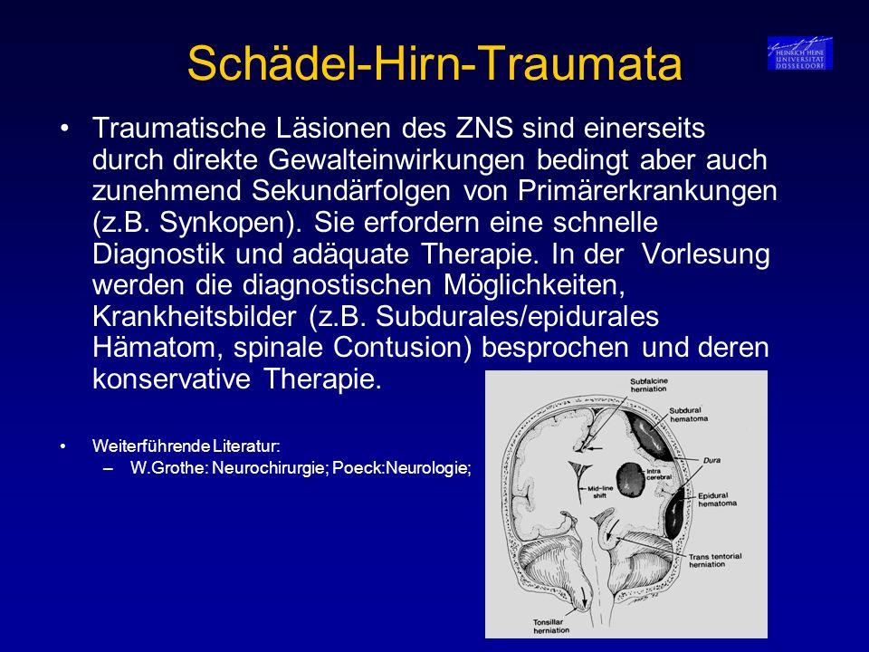 Zerebrale Raumforderungen StrukturErkrankungDiagnostikTherapie Knochen Hyperostosis cranialisSchädel-nativ-RöntgenKeine Gefäße Gefäßmißbildungen (Angiom, Cavernom)CT, MRT, AngiographieBestrahlung, Operation, Coiling, Verkleben Hirnhäute Subdurales HämatomKM-CT, MRTVerlaufskontrolle, Bohrloch anlegen Meningeom CT, MRT, AngiographieBei entsprechender Größe Operation MeningeosisLP, MRTRadiatio, Chemotherapie Liquor EinklemmungssyndromCT,MRT, DruckmessungDrucksenkung, Duisburger Nadel Hydrozephalus Verschiedene VariantenCT, LP, DruckmessungVerlaufsbeobachtung, Ventil-Anlage HirnödemCT, MRTDruckreduktion Hirnparenchym Astrozytom, GliomeCT, MRT, LP PET, Biopsie Radiatio, Entlastungs-Op, Chemotherapie GlioblastomAntiödematöse Therapie Externes Gewebe Metastasen:CT, MRT, LP, BiopsieOperation, Radiatio, Chemotherapie, Mamma-CA, Prostata-CaSanierung des Primarius Melanom, Bronchial-Ca Nierenzell-Ca, Lymphome