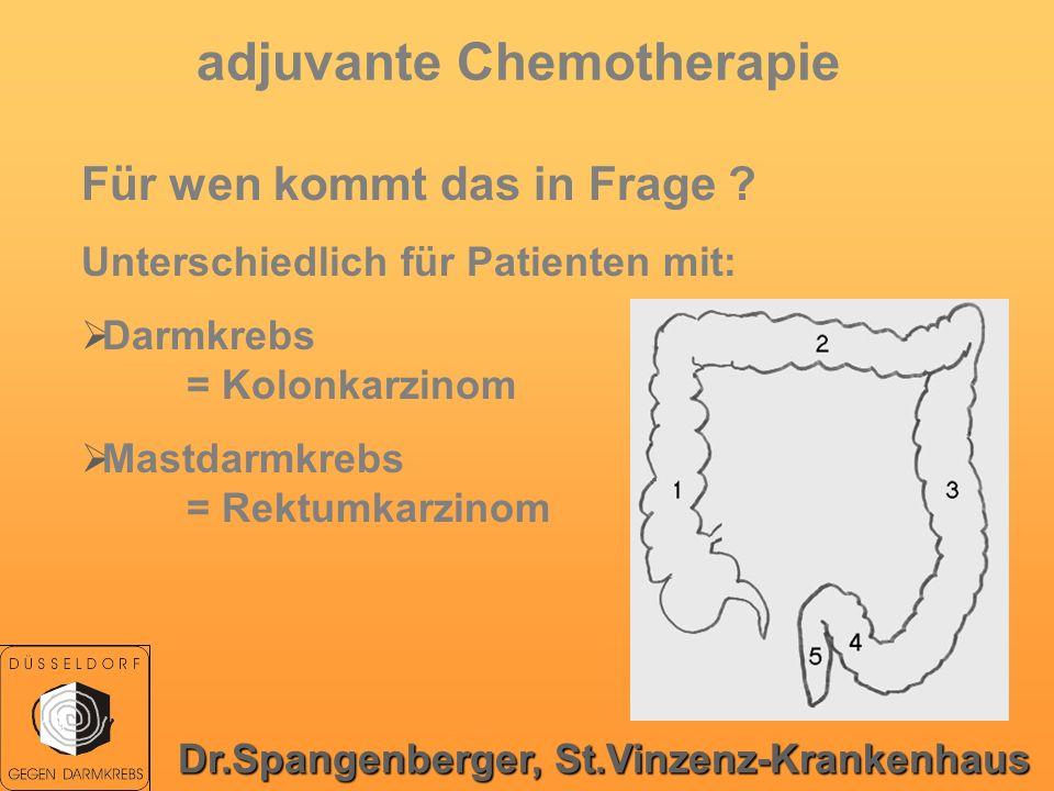 adjuvante Chemotherapie Für wen kommt das in Frage ? Unterschiedlich für Patienten mit: Darmkrebs = Kolonkarzinom Mastdarmkrebs = Rektumkarzinom Dr.Sp