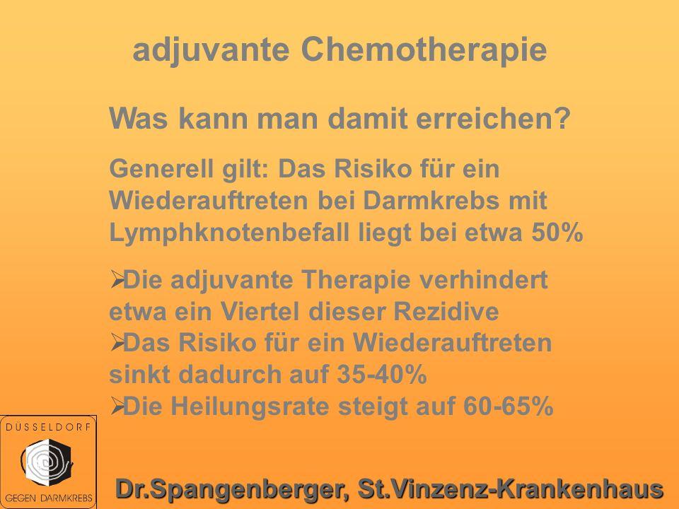adjuvante Chemotherapie Was kann man damit erreichen? Generell gilt: Das Risiko für ein Wiederauftreten bei Darmkrebs mit Lymphknotenbefall liegt bei