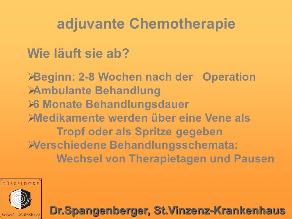 adjuvante Chemotherapie Wie läuft sie ab? Beginn: 2-8 Wochen nach der Operation Ambulante Behandlung 6 Monate Behandlungsdauer Medikamente werden über