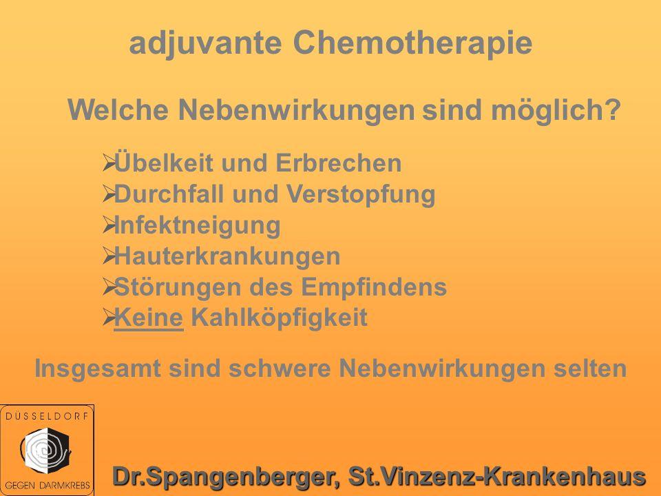 adjuvante Chemotherapie Welche Nebenwirkungen sind möglich? Übelkeit und Erbrechen Durchfall und Verstopfung Infektneigung Hauterkrankungen Störungen