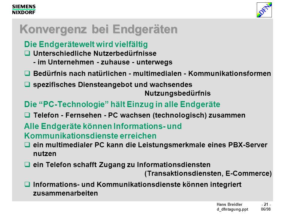 Hans Breidler- 21 - d_dfntagung.ppt06/98 Konvergenz bei Endgeräten Die Endgerätewelt wird vielfältig Unterschiedliche Nutzerbedürfnisse - im Unternehmen - zuhause - unterwegs Bedürfnis nach natürlichen - multimedialen - Kommunikationsformen spezifisches Diensteangebot und wachsendes Nutzungsbedürfnis Die PC-Technologie hält Einzug in alle Endgeräte Telefon - Fernsehen - PC wachsen (technologisch) zusammen Alle Endgeräte können Informations- und Kommunikationsdienste erreichen ein multimedialer PC kann die Leistungsmerkmale eines PBX-Server nutzen ein Telefon schafft Zugang zu Informationsdiensten (Transaktionsdiensten, E-Commerce) Informations- und Kommunikationsdienste können integriert zusammenarbeiten