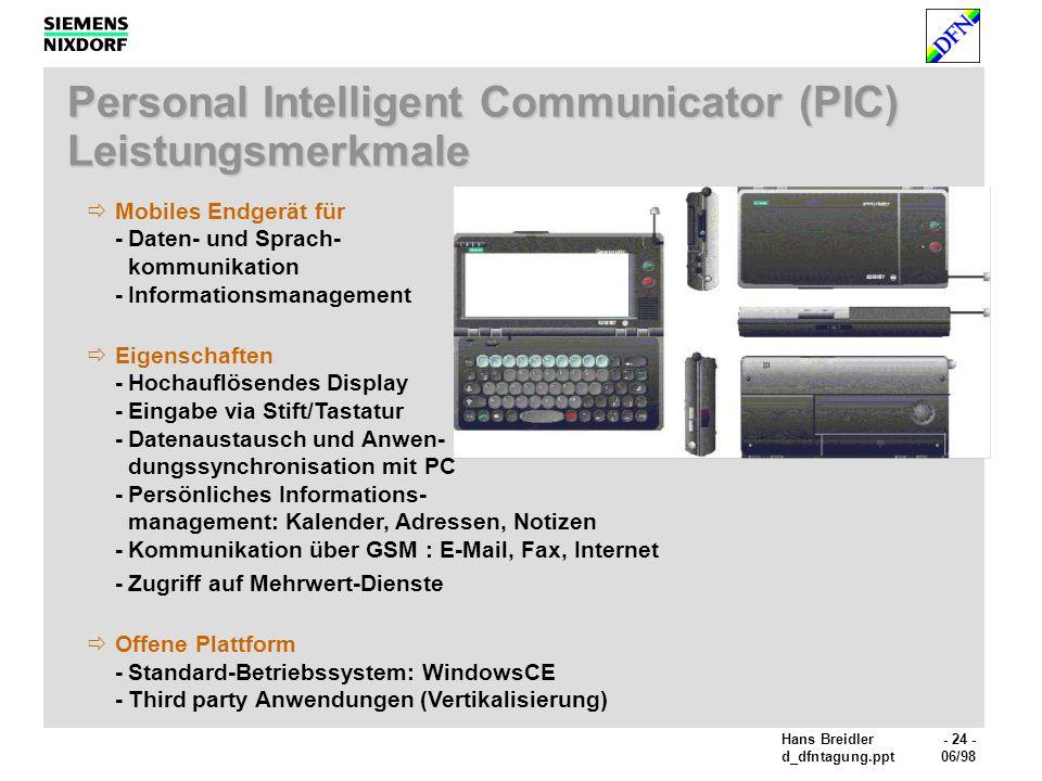 Hans Breidler- 24 - d_dfntagung.ppt06/98 Personal Intelligent Communicator (PIC) Leistungsmerkmale Mobiles Endgerät für -Daten- und Sprach- kommunikation -Informationsmanagement Eigenschaften -Hochauflösendes Display -Eingabe via Stift/Tastatur -Datenaustausch und Anwen- dungssynchronisation mit PC -Persönliches Informations- management: Kalender, Adressen, Notizen -Kommunikation über GSM : E-Mail, Fax, Internet -Zugriff auf Mehrwert-Dienste Offene Plattform -Standard-Betriebssystem: WindowsCE -Third party Anwendungen (Vertikalisierung)