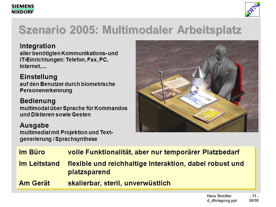 Hans Breidler- 31 - d_dfntagung.ppt06/98 Szenario 2005: Multimodaler Arbeitsplatz Integration aller benötigten Kommunikations- und IT-Einrichtungen: Telefon, Fax, PC, Internet,...