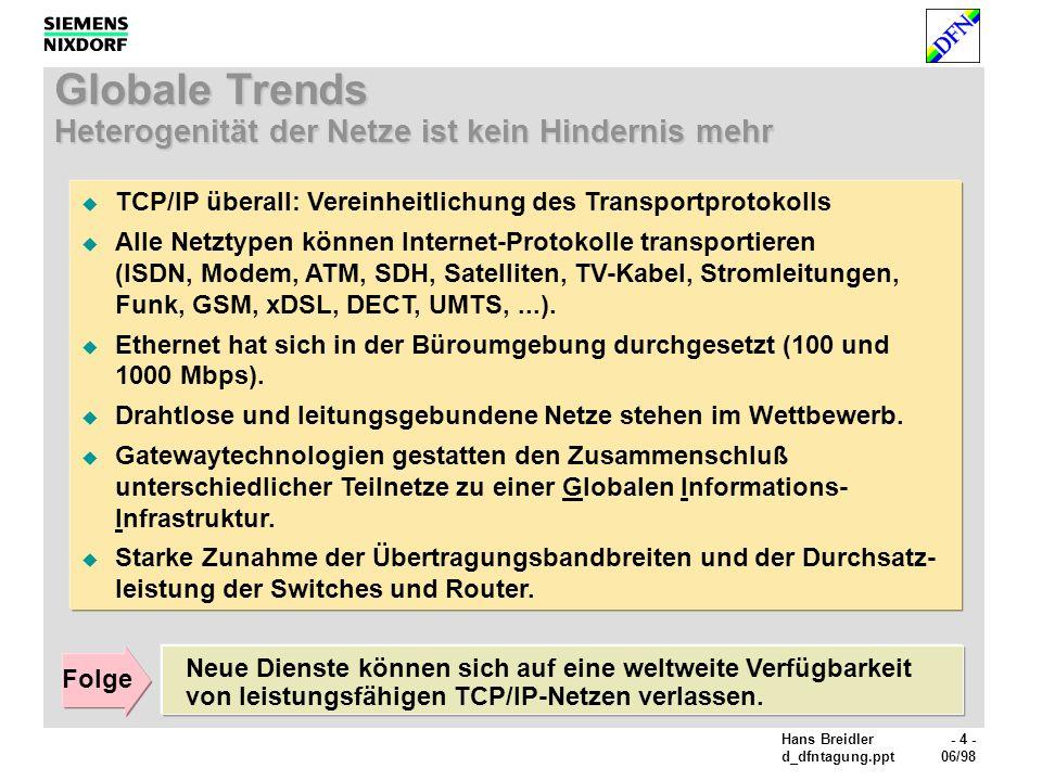 Hans Breidler- 4 - d_dfntagung.ppt06/98 Globale Trends Heterogenität der Netze ist kein Hindernis mehr TCP/IP überall: Vereinheitlichung des Transportprotokolls Alle Netztypen können Internet-Protokolle transportieren (ISDN, Modem, ATM, SDH, Satelliten, TV-Kabel, Stromleitungen, Funk, GSM, xDSL, DECT, UMTS,...).