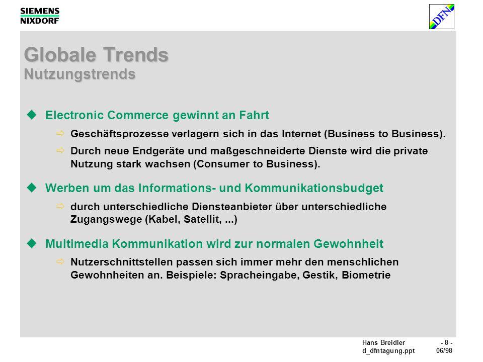 Hans Breidler- 8 - d_dfntagung.ppt06/98 Globale Trends Nutzungstrends Electronic Commerce gewinnt an Fahrt Geschäftsprozesse verlagern sich in das Internet (Business to Business).