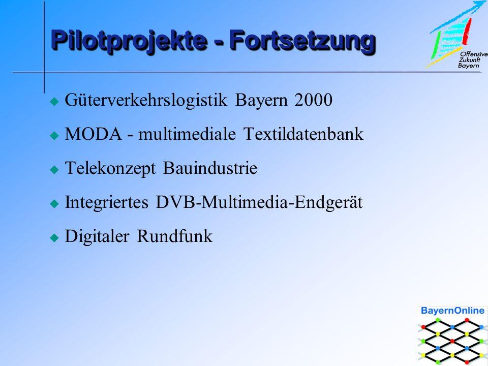 Pilotprojekte - Fortsetzung Güterverkehrslogistik Bayern 2000 MODA - multimediale Textildatenbank Telekonzept Bauindustrie Integriertes DVB-Multimedia-Endgerät Digitaler Rundfunk