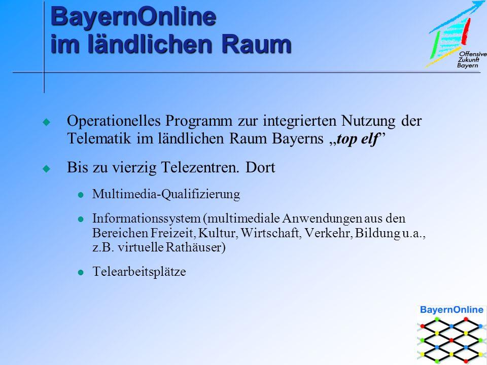 BayernOnline im ländlichen Raum Operationelles Programm zur integrierten Nutzung der Telematik im ländlichen Raum Bayerns top elf Bis zu vierzig Telezentren.