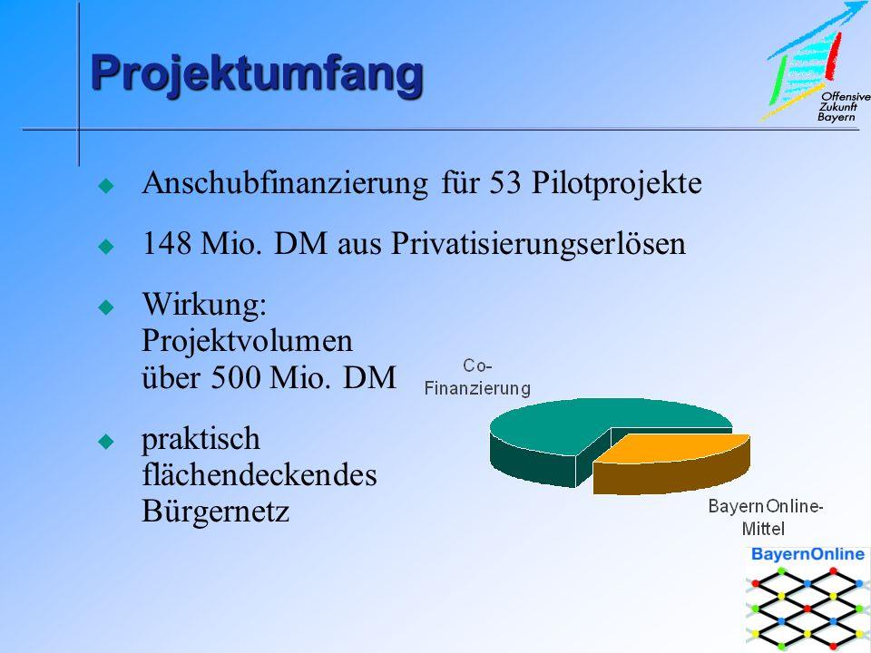 ProjektumfangProjektumfang Anschubfinanzierung für 53 Pilotprojekte 148 Mio.