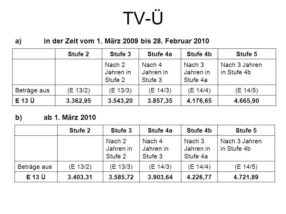 TV-Ü a)in der Zeit vom 1. März 2009 bis 28. Februar 2010 Stufe 2Stufe 3Stufe 4aStufe 4bStufe 5 Nach 2 Jahren in Stufe 2 Nach 4 Jahren in Stufe 3 Nach