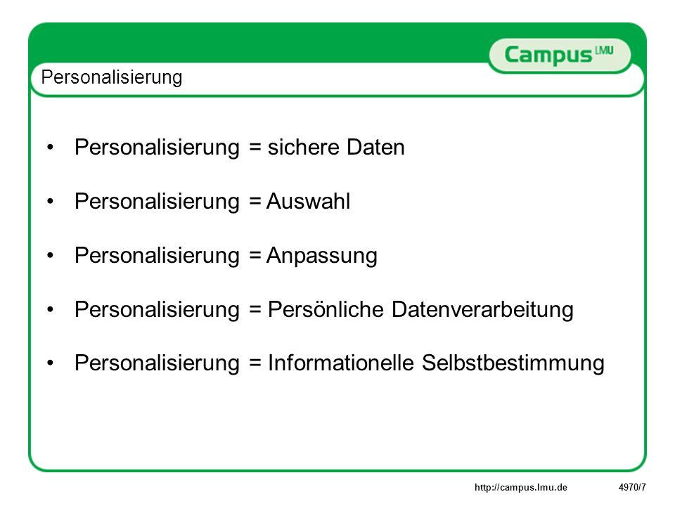 http://campus.lmu.de4970/18 Personalisierung: Persönliche Datenverarbeitung 1Mailbox 2iFolder 3 onDemand