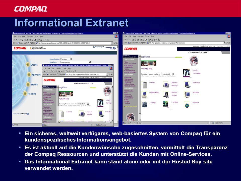 Informational Extranet Ein sicheres, weltweit verfügares, web-basiertes System von Compaq für ein kundenspezifisches Informationsangebot. Es ist aktue