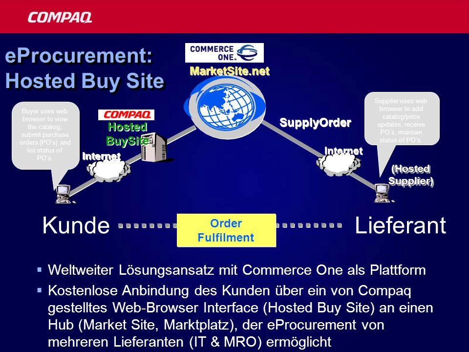 eProcurement: Hosted Buy Site Internet MarketSite.net (Hosted Supplier) SupplyOrder Hosted BuySite Internet Order Fulfilment Supplier uses web browser