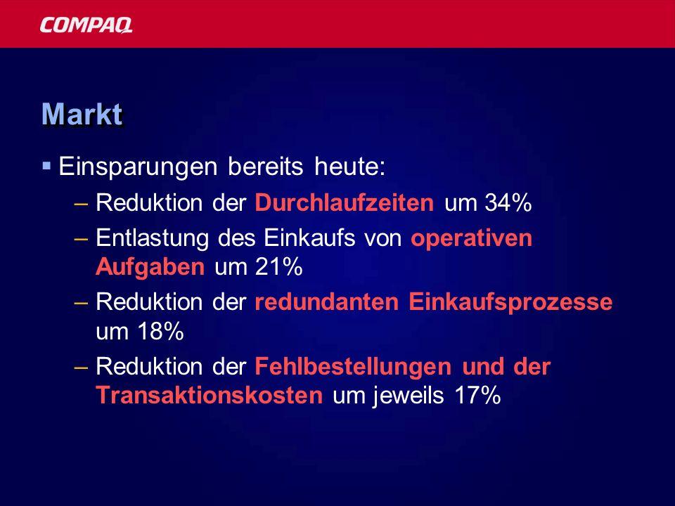 MarktMarkt Einsparungen bereits heute: –Reduktion der Durchlaufzeiten um 34% –Entlastung des Einkaufs von operativen Aufgaben um 21% –Reduktion der re
