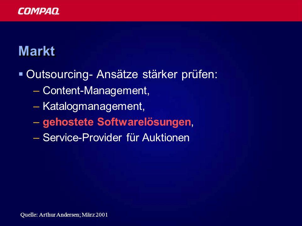 MarktMarkt Outsourcing- Ansätze stärker prüfen: –Content-Management, –Katalogmanagement, –gehostete Softwarelösungen, –Service-Provider für Auktionen