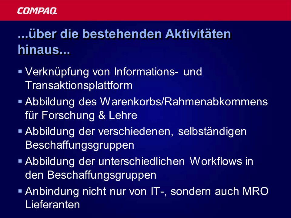 ...über die bestehenden Aktivitäten hinaus... Verknüpfung von Informations- und Transaktionsplattform Abbildung des Warenkorbs/Rahmenabkommens für For