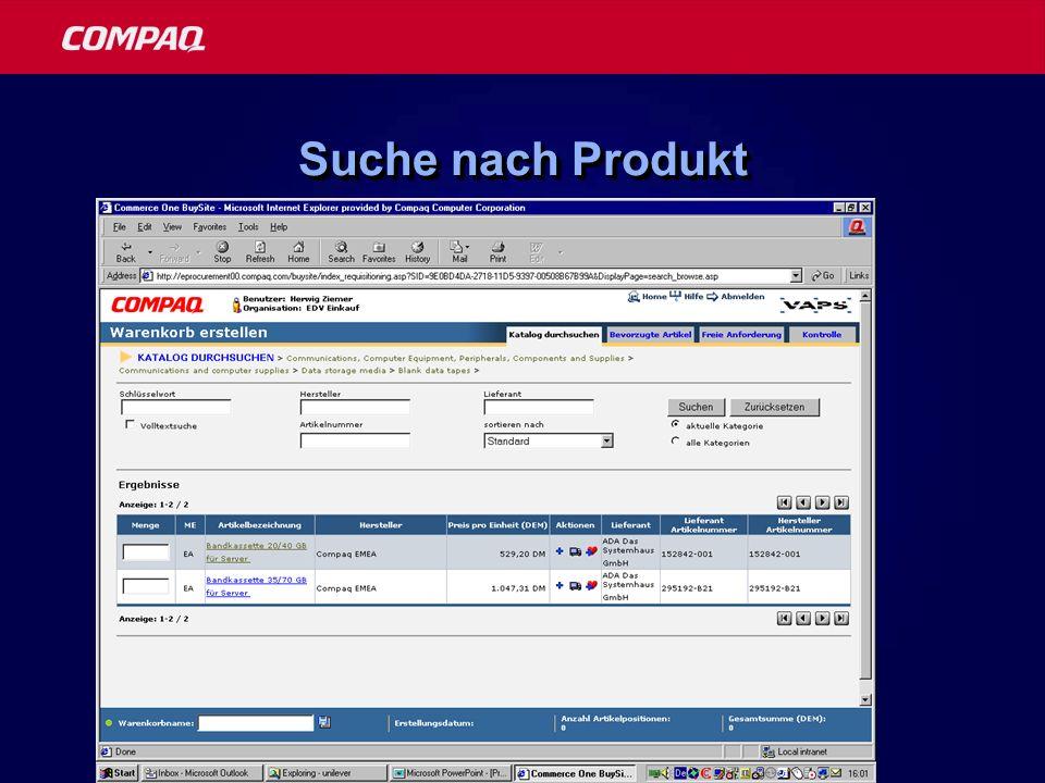 Suche nach Produkt