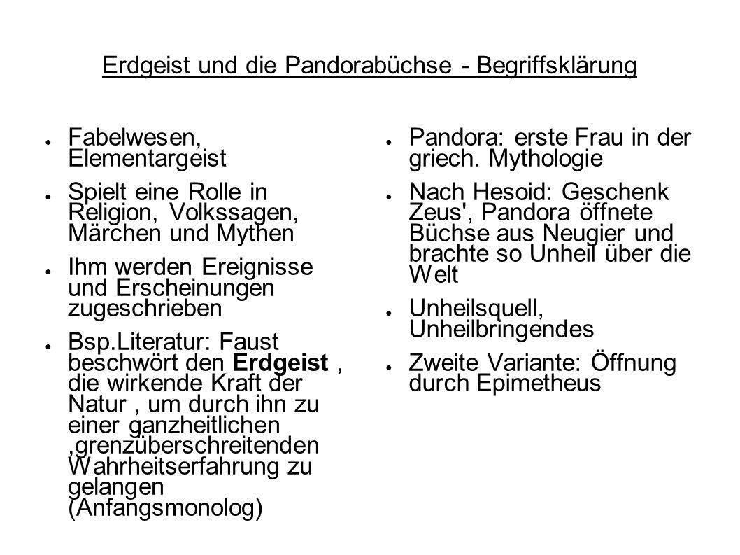 Erdgeist und die Pandorabüchse - Begriffsklärung Fabelwesen, Elementargeist Spielt eine Rolle in Religion, Volkssagen, Märchen und Mythen Ihm werden E