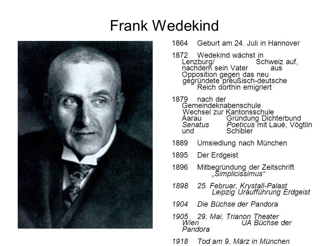 Frank Wedekind 1864Geburt am 24. Juli in Hannover 1872Wedekind wächst in Lenzburg/Schweiz auf, nachdem sein Vateraus Opposition gegen das neu gegründe