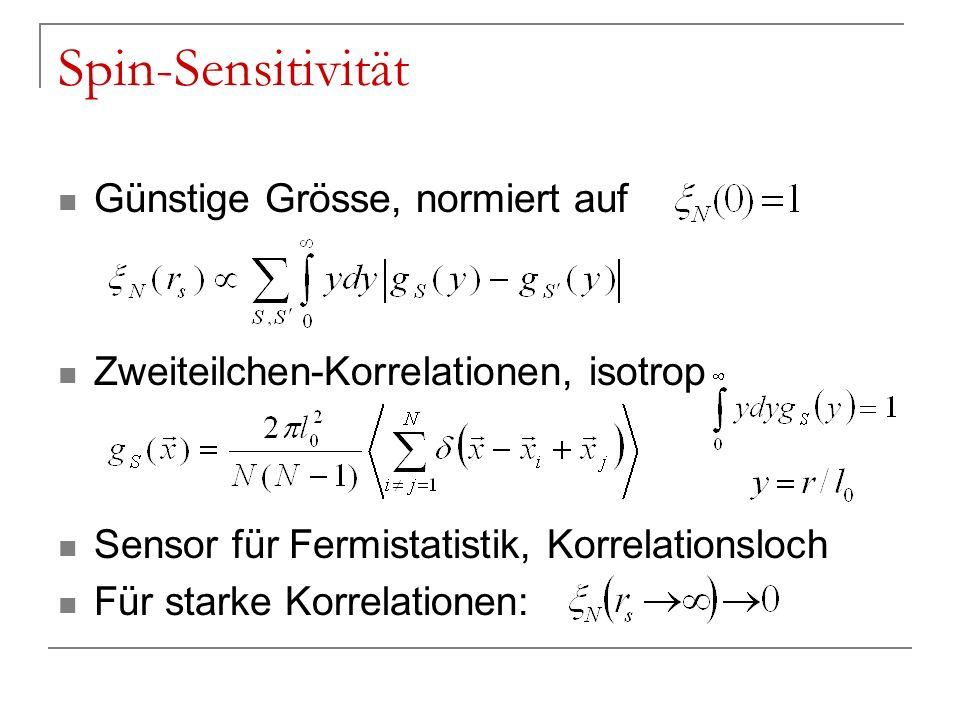 Spin-Sensitivität Günstige Grösse, normiert auf Zweiteilchen-Korrelationen, isotrop Sensor für Fermistatistik, Korrelationsloch Für starke Korrelation