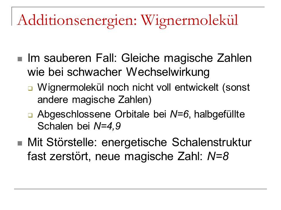Additionsenergien: Wignermolekül Im sauberen Fall: Gleiche magische Zahlen wie bei schwacher Wechselwirkung Wignermolekül noch nicht voll entwickelt (