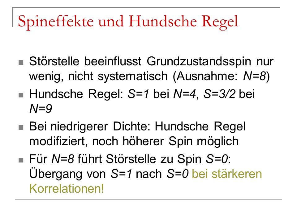 Spineffekte und Hundsche Regel Störstelle beeinflusst Grundzustandsspin nur wenig, nicht systematisch (Ausnahme: N=8) Hundsche Regel: S=1 bei N=4, S=3