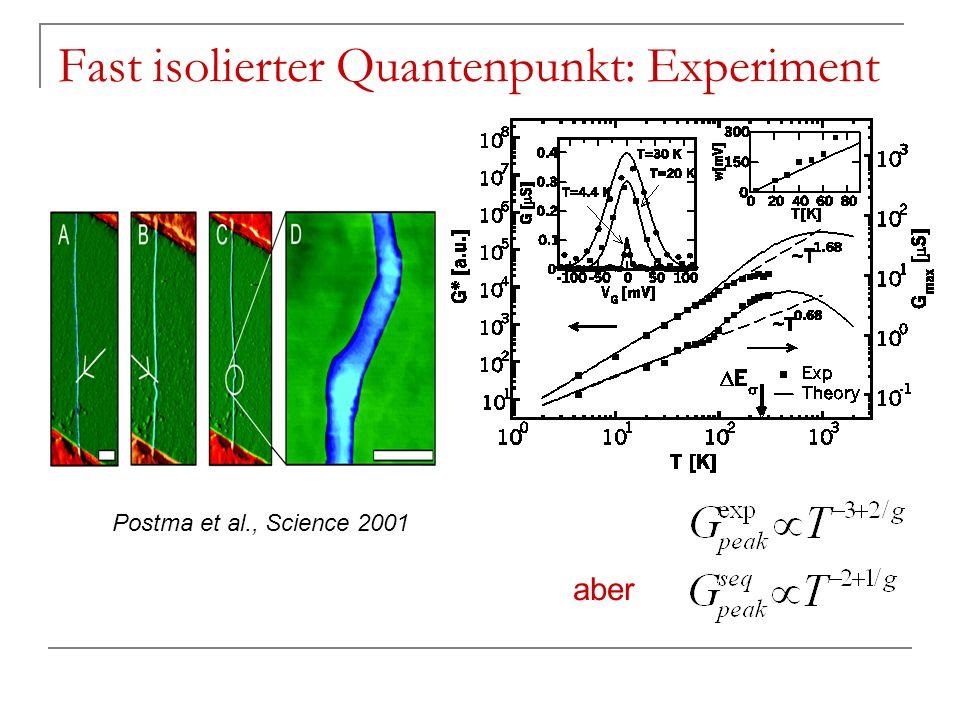 Fast isolierter Quantenpunkt: Experiment Postma et al., Science 2001 aber