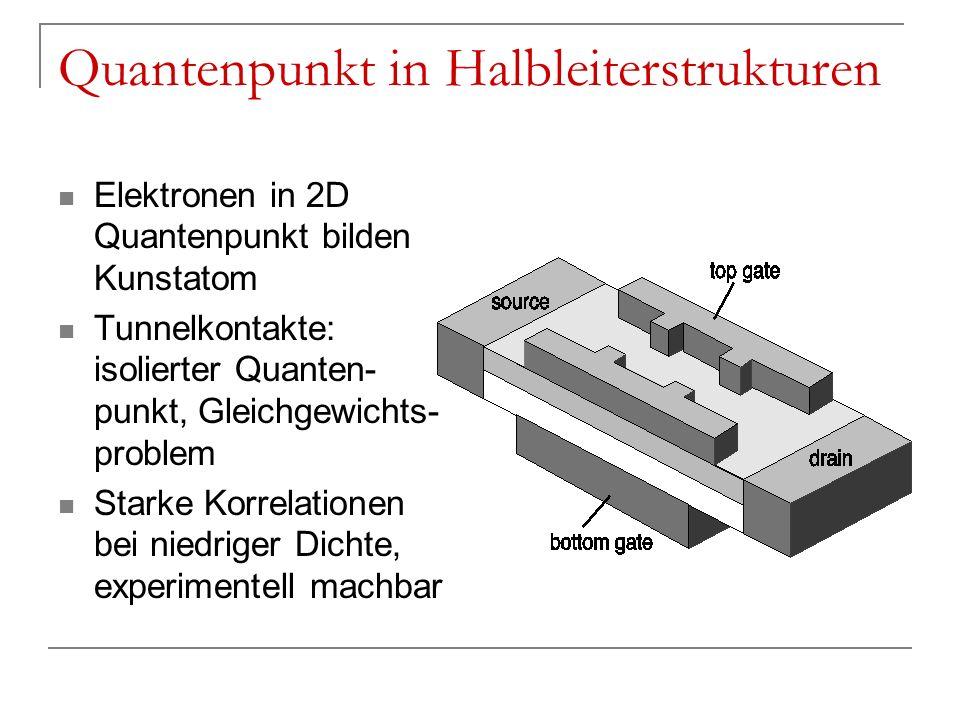 Quantenpunkt in Halbleiterstrukturen Elektronen in 2D Quantenpunkt bilden Kunstatom Tunnelkontakte: isolierter Quanten- punkt, Gleichgewichts- problem