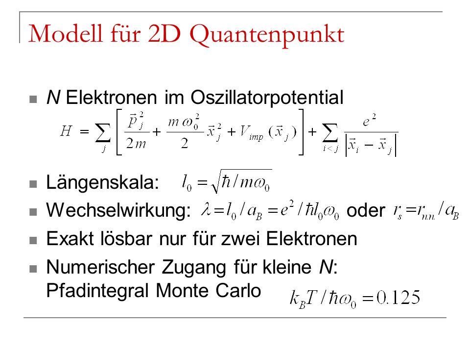 Modell für 2D Quantenpunkt N Elektronen im Oszillatorpotential Längenskala: Wechselwirkung: oder Exakt lösbar nur für zwei Elektronen Numerischer Zuga