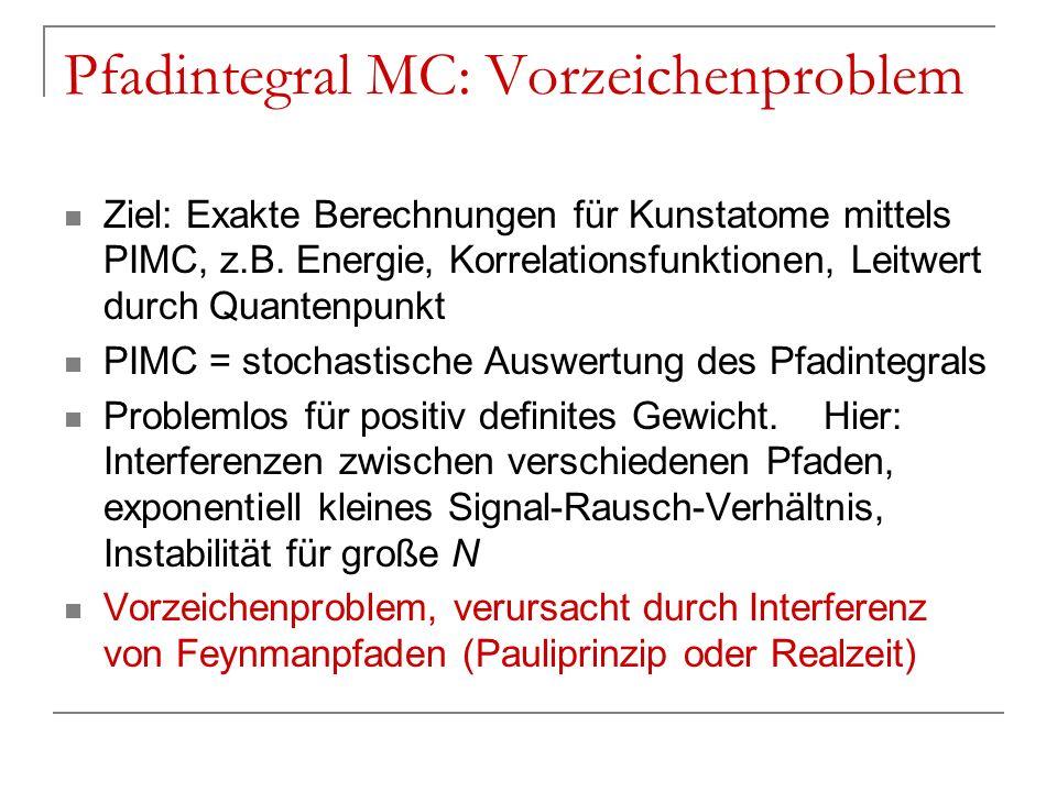 Pfadintegral MC: Vorzeichenproblem Ziel: Exakte Berechnungen für Kunstatome mittels PIMC, z.B. Energie, Korrelationsfunktionen, Leitwert durch Quanten