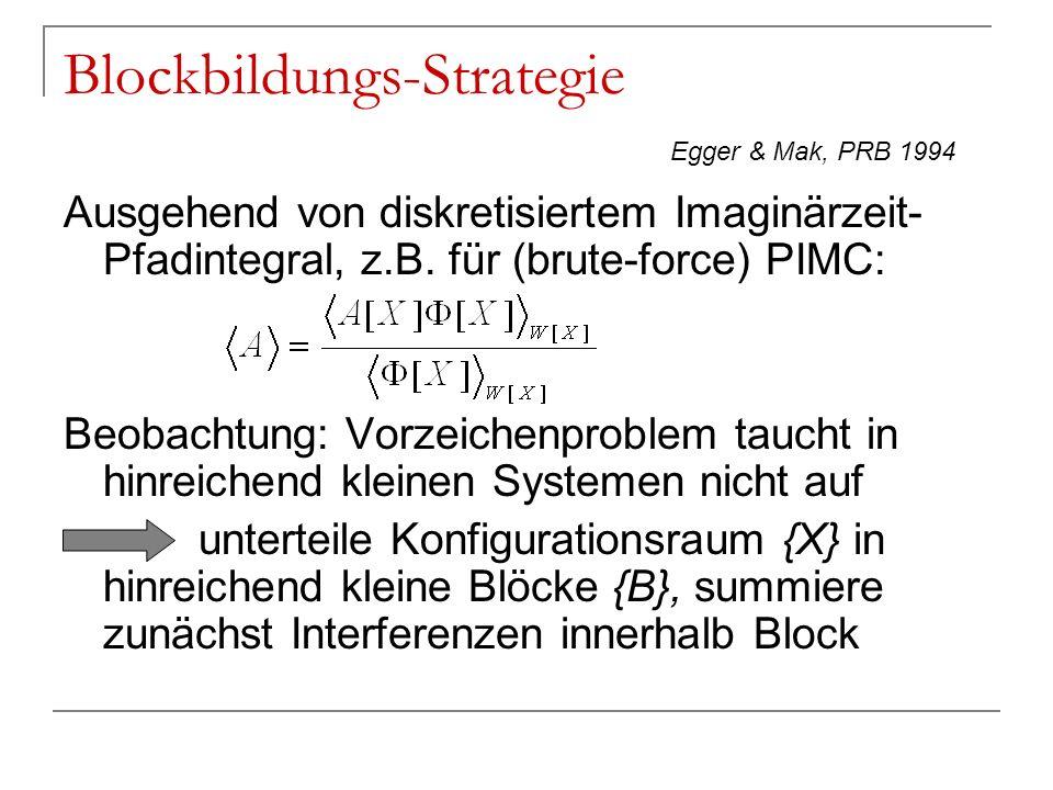Blockbildungs-Strategie Ausgehend von diskretisiertem Imaginärzeit- Pfadintegral, z.B. für (brute-force) PIMC: Beobachtung: Vorzeichenproblem taucht i