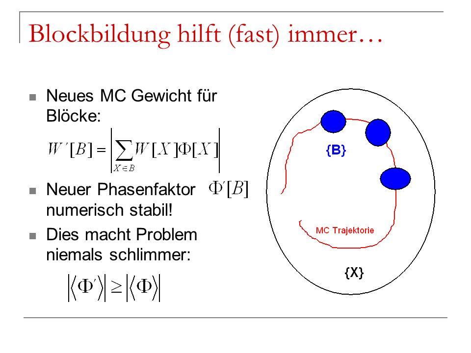 Blockbildung hilft (fast) immer… Neues MC Gewicht für Blöcke: Neuer Phasenfaktor numerisch stabil! Dies macht Problem niemals schlimmer: