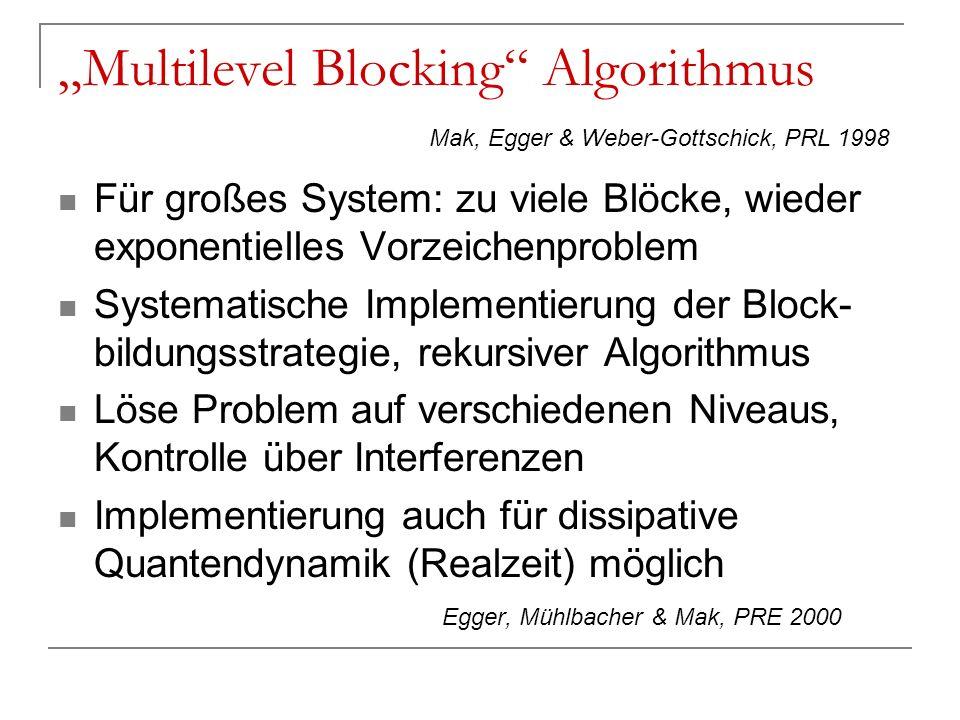 Multilevel Blocking Algorithmus Für großes System: zu viele Blöcke, wieder exponentielles Vorzeichenproblem Systematische Implementierung der Block- b