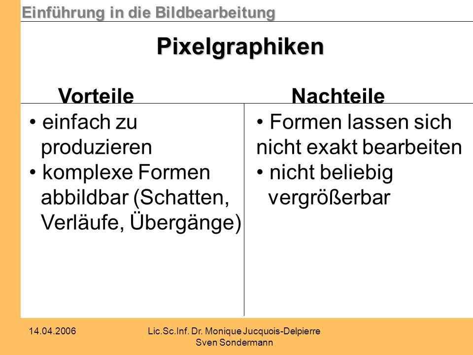 Einführung in die Bildbearbeitung 14.04.2006Lic.Sc.Inf. Dr. Monique Jucquois-Delpierre Sven Sondermann Pixelgraphiken Vorteile einfach zu produzieren