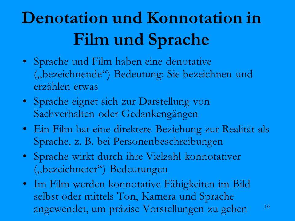 10 Denotation und Konnotation in Film und Sprache Sprache und Film haben eine denotative (bezeichnende) Bedeutung: Sie bezeichnen und erzählen etwas S