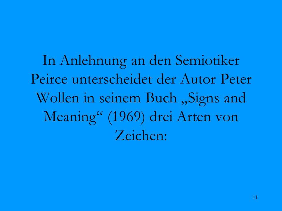 11 In Anlehnung an den Semiotiker Peirce unterscheidet der Autor Peter Wollen in seinem Buch Signs and Meaning (1969) drei Arten von Zeichen: