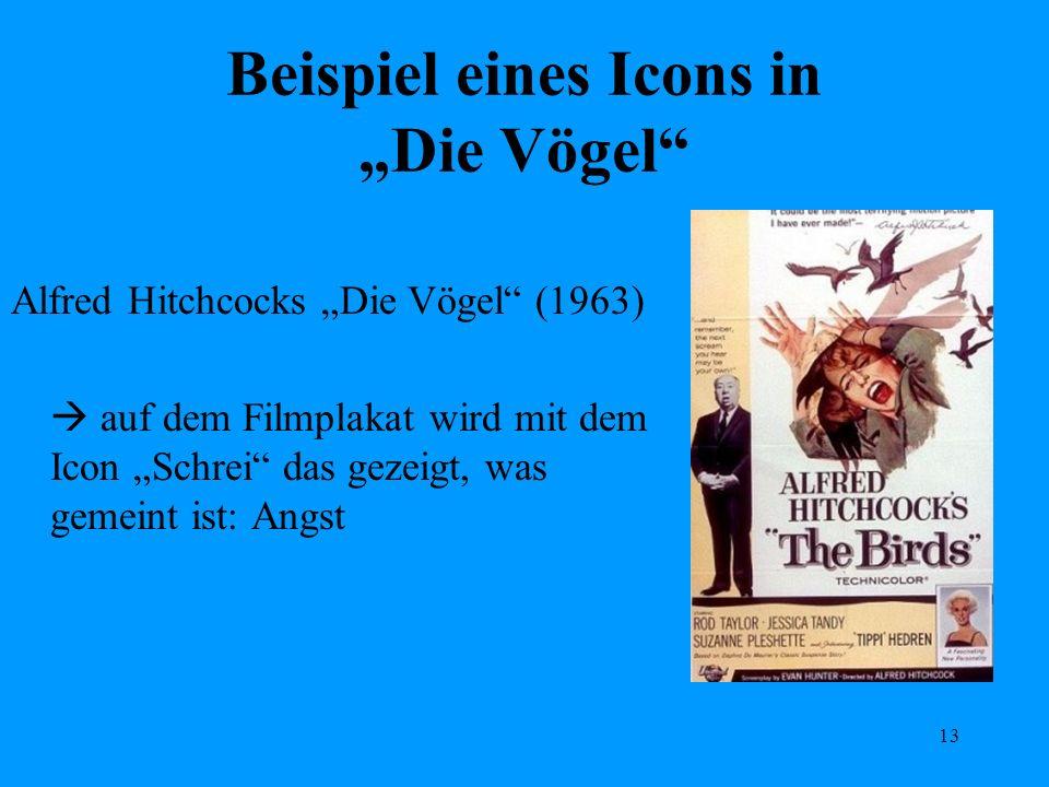 13 Beispiel eines Icons in Die Vögel Alfred Hitchcocks Die Vögel (1963) auf dem Filmplakat wird mit dem Icon Schrei das gezeigt, was gemeint ist: Angs