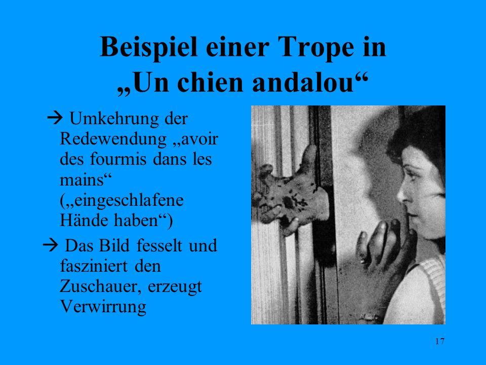 17 Beispiel einer Trope in Un chien andalou Umkehrung der Redewendung avoir des fourmis dans les mains (eingeschlafene Hände haben) Das Bild fesselt u