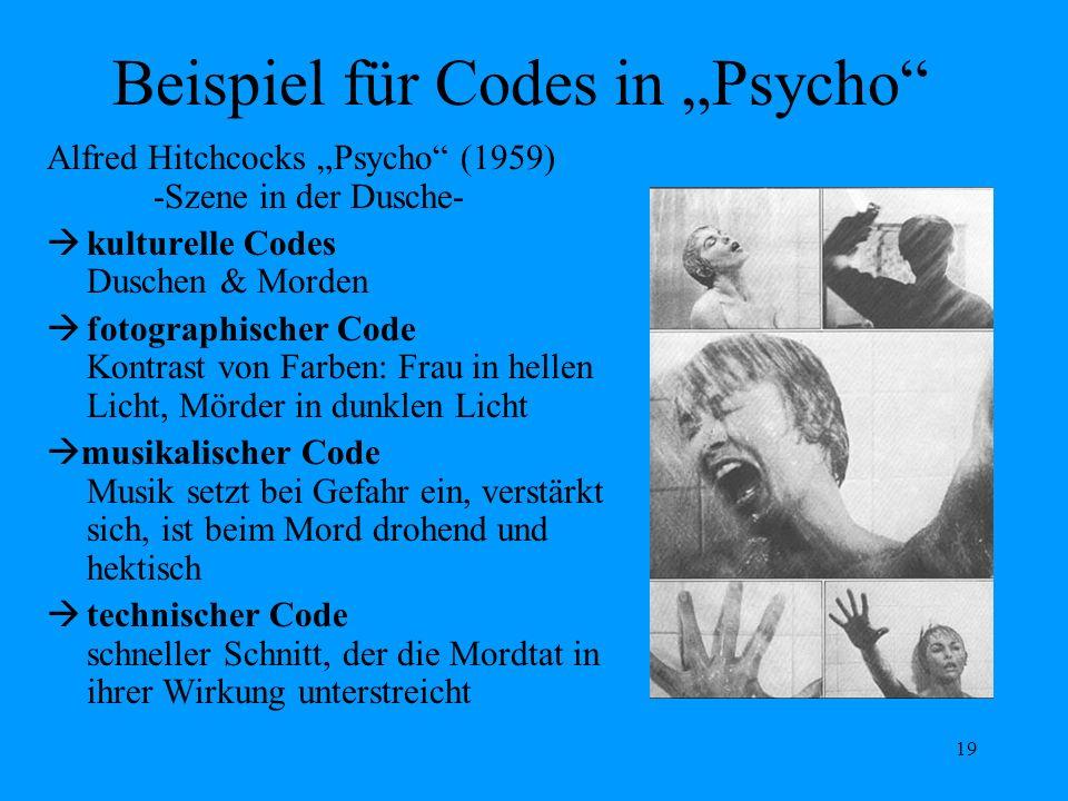 19 Beispiel für Codes in Psycho Alfred Hitchcocks Psycho (1959) -Szene in der Dusche- kulturelle Codes Duschen & Morden fotographischer Code Kontrast